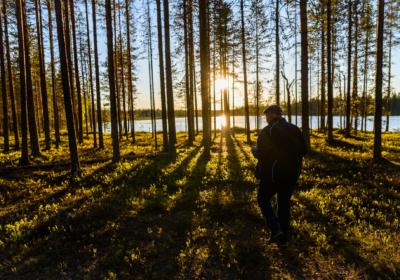 Sol de medianoche en Laponia,